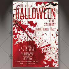 bloody halloween seasonal flyer psd template blood ghostparty