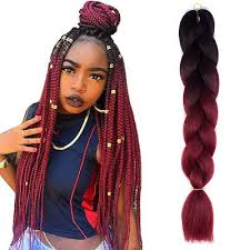 red cornrow braided hair 24 black wine red jumbo braids hair ombre synthetic braiding hair