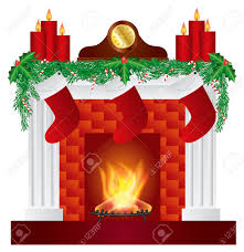 fireplace with christmas decoration garland stockings candles