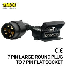tirol 7 pin flat socket to 7 pin large round plug trailer boat
