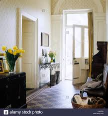 entrance hall with open front door stock photo royalty free image
