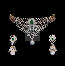 light diamond necklace images Diamond necklace light weight diamond set indian wedding jpg