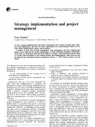 strategy implementation and project management project