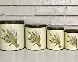 vintage metal kitchen canister sets vintage kitchen canisters etsy