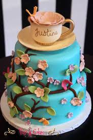 birthday cake baby shower cake flowers 2 tier blue cherry