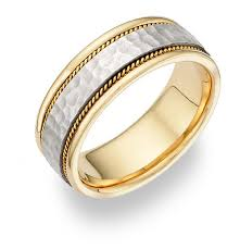 two tone wedding rings brushed hammered wedding band in 14k two tone gold