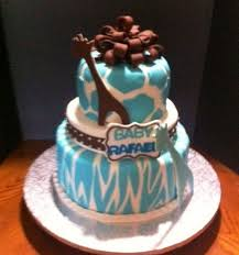 blue giraffe animal print baby shower cake cakecentral com