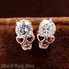 store stud earrings 18k yellow gold plated cz diamond skull stud earrings mind