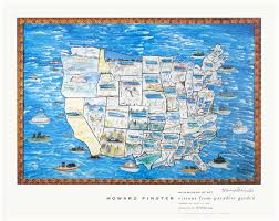 Map Of Nd Howard Finster Story Map Of The United States Print For Sale At