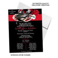 phantom of the opera sweet 16 vip pass invitationsfor quinceanera