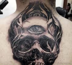 80 looking skull tattoos on back
