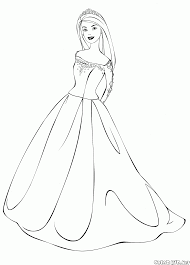 coloring page barbies ball gown