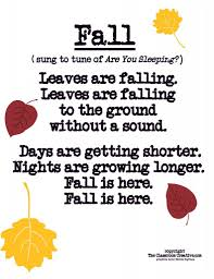 fall poem song for preschool kindergarten grade fall