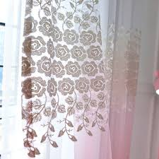 Sheer Patio Door Curtains Ombre Pink Floral Embroidery Sheer Curtains For Patio Door