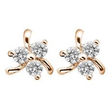 small diamond earrings 014ct f i1 three diamond earrings with triangle cluster
