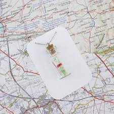 World Map Necklace by Map Pendant Personalised Map In A Bottle Necklace