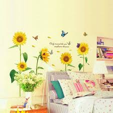 sunshine sunflower butterfly wall stickers dancing in summer sunshine sunflower butterfly wall stickers dancing in summer beautiful removable wall decor diy kid s child room decor decal in wall stickers from home