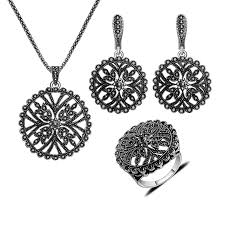 big flower necklace images Silver plated black rhinestone hollow out big round flower jpg