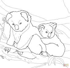 mother koala hugging its baby coloring page free printable