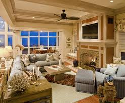 floor family room traditional with area rug beadboard ceiling