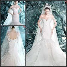 luxurious michael cinco mermaid wedding dress off shoulder hand
