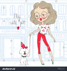 pets news tips u0026 guides glamour cute vector pet stylish young stock vector 555974782