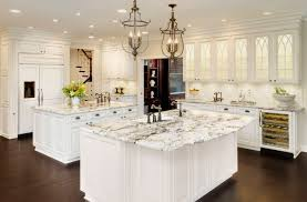 Recessed Kitchen Cabinets Furniture White Ice Granite With Cabinet Front Refrigerator Also