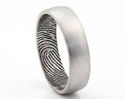 fingerprint wedding band inner fingerprint ring sterling silver engraving wedding band