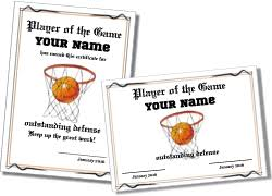 basketball certificate templates to personalize and print
