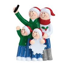 selfie family of four personalized ornament mrsclauschristmas