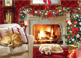 dogstrust dogs in front of fire christmas card see the top 50