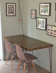 rustic industrial kitchen table and x 2 grey chairs hairpin steel