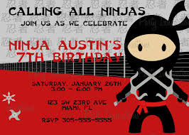 Unique Birthday Invitation Cards Ninja Birthday Invitations Kawaiitheo Com