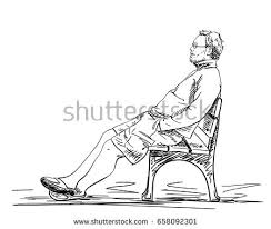 sketch man using computer hand drawn stock vector 528975715