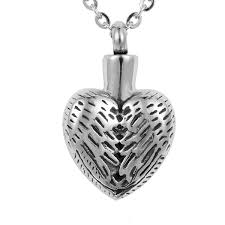 necklaces for ashes after cremation wholesale stainless steel vintage angel wing heart cremation