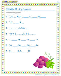 fill in the missing number fun math worksheets math blaster