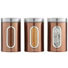 Copper Canister Set Kitchen Vonshef Set Of 3 Copper Tea Coffee U0026 Sugar Canisters With Window