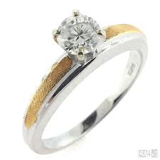 white gold engagement ring with yellow gold wedding band 14kt white and yellow gold 0 44ct diamond engagement ring more