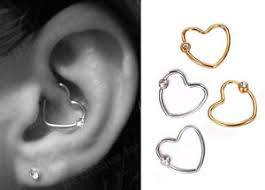 heart cartilage daith heart gem stainless steel heart ring helix cartilage