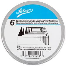 Steel Cutter Ateco 5253 6 Piece Stainless Steel Plain Square Cutter Set August