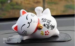 novelty toys car decor flap flip solar powered lucky cat swing