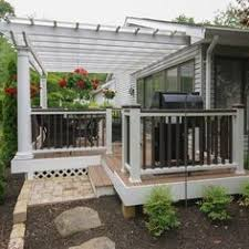 Trex Pergola Kit by A Portion Of This Classic Trex Deck Is Enclosed By A Freestanding