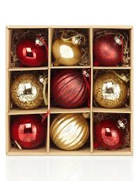 9 red u0026 gold glass christmas baubles m u0026s