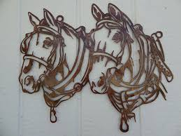 Country Rustic Home Decor Amazon Com Draft Horse Head Metal Wall Art Country Rustic Home