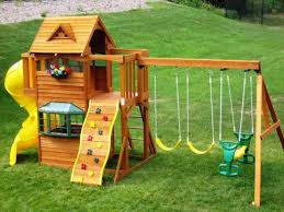 Small Backyard Playground Ideas Interesting Backyard Playsets With Swing Sets And Pea Gravel
