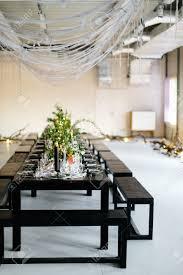 stylish table loft design room in the loft style black table