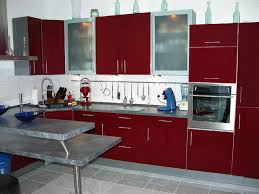 kitchen modern fierce dark red kitchen cabinet with gray granite