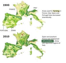Map Of Spain And France by Watch How Europe Is Greener Now Than 100 Years Ago The