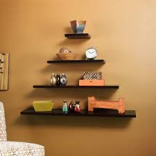 Square Floating Shelves by Floating Shelves Light Oak Cream Painted Wall Wooden Unfinished
