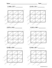 lattice multiplication worksheets for 5th grade lattice